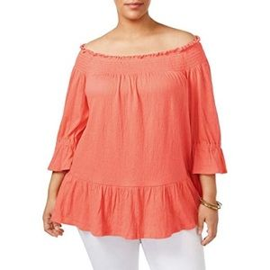 NWT NY Collection Coral Off-The-Shoulder Top